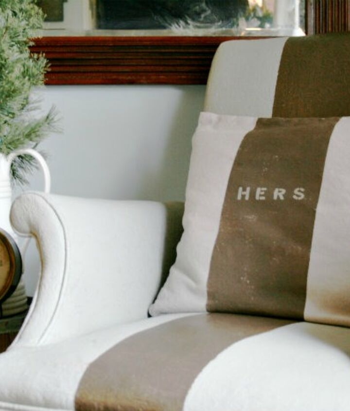 Matching pillows (His & Hers) http://diyshowoff.com/2012/12/14/his-hers-painted-pillow-covers/