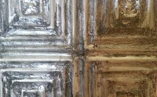 aluminum foil vintage tiles and drop stenciling with venetian plaster, chalk paint, paint colors, painting, wall decor, Vintage looking tiles made out of Aluminum Foil with glaze