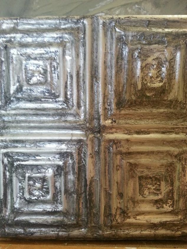Vintage looking tiles made out of Aluminum Foil with glaze