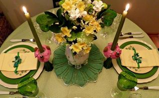 spring green tablescape with shamrocks, seasonal holiday d cor
