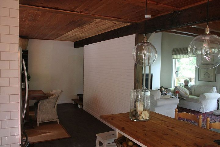 q painting a wood ceiling in white, paint colors, painting, wall decor, woodworking projects, Here is the problem of not being able to match the stain from the old ceiling to the new The old is 50 years old so the aging of the wood makes it impossible to match