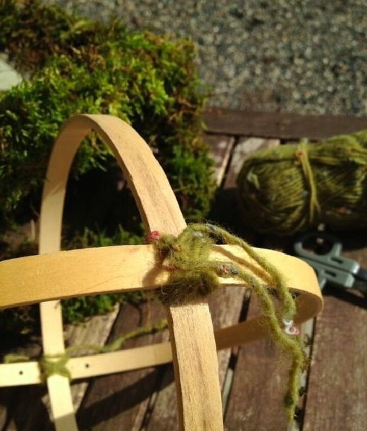 """Use a moss colored yarn to tie your hoops in place. I used 8"""" hoops for this project."""