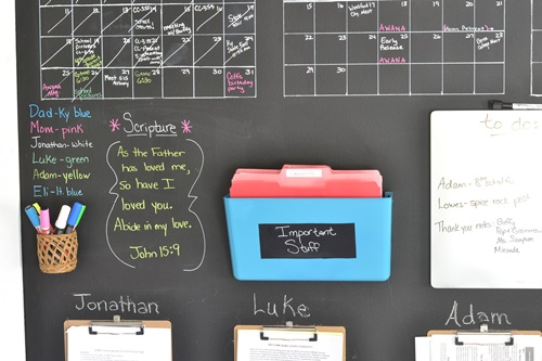 Organizing folders and using colored chalk in on my calendar helps me stay organized.