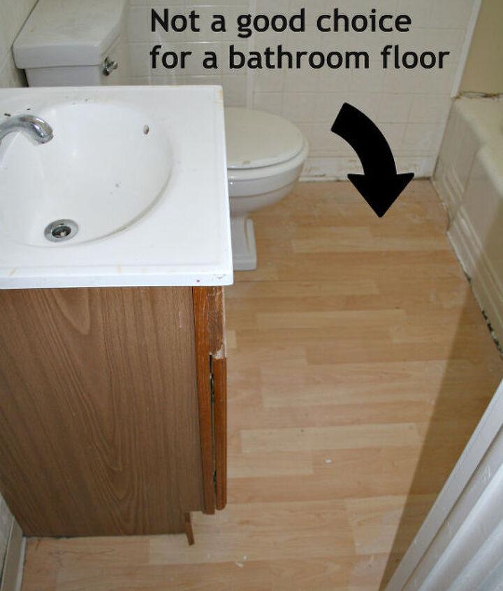 bathroom floor before - pergo?!