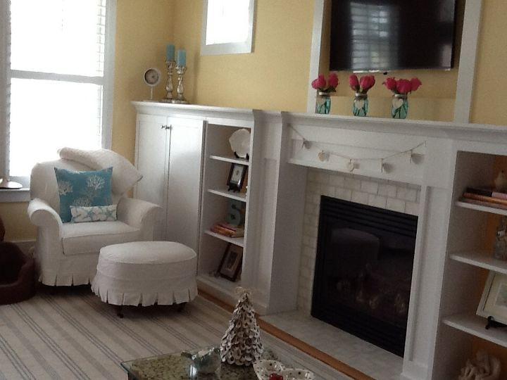 q how to decorate a long mantle, fireplaces mantels, home decor, living room ideas, Shelving cabinets to left side of fireplace