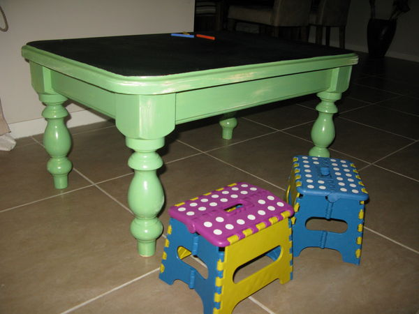 childs chalkboard activity table from a 5 pine coffee table, painted furniture, repurposing upcycling, Completed table ready for some fun I bought the little colourful fold out stools to go with it Just the right height for tiny tots to use with this table