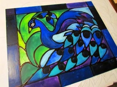 creating faux stained glass with acrylic paint and glue hometalk