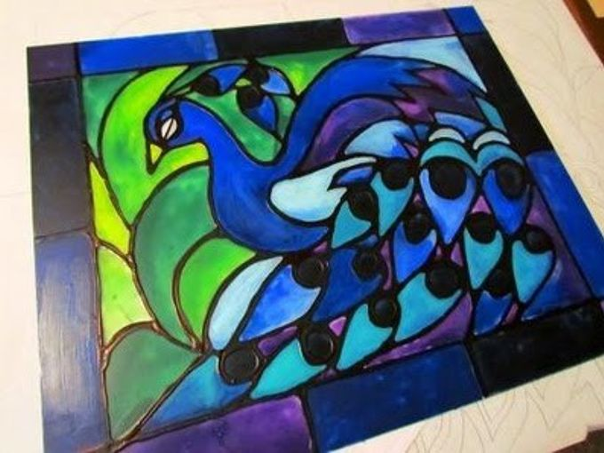 creating faux stained glass with acrylic paint and glue, crafts, painting, Faux Stained Glass Majestic Peacock