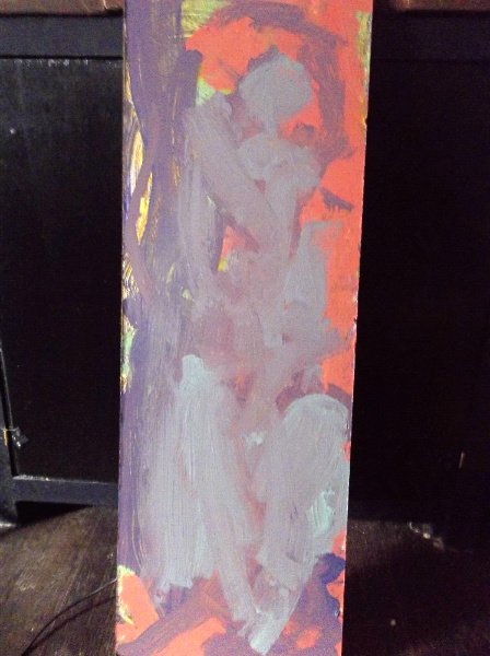 I gave my daughter some leftover latex house paint (no-voc Olympic).  On the first day, she painted a purple and yellow layer.  On the second day, she painted a berry color, and mixed light blue with deep purple.