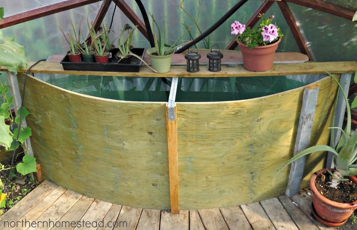 geodome greenhouse water tank, gardening, go green, We built the tank out of two 4 x 8 sheets of plywood