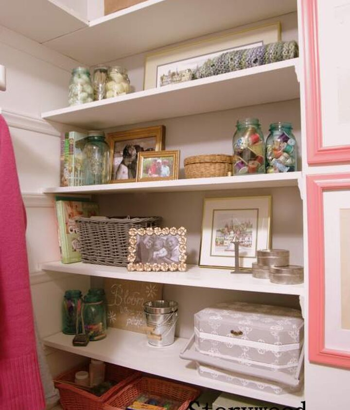 My revamped closet shelves now store crafting supplies in a pretty and organized fashion