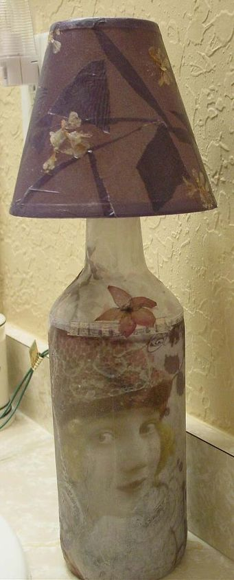 upcycled bottles lamps n bottles, crafts, decoupage, lighting, repurposing upcycling