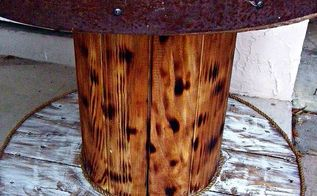 cable spool and old barrel table, painted furniture, repurposing upcycling, rustic furniture, completed table
