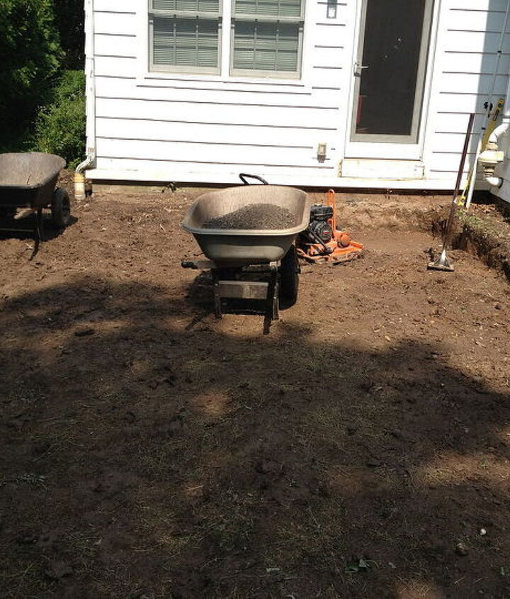 First step after design was to excavate area for new Patio and Steps in Brighton NY by Acorn of Rochester NY