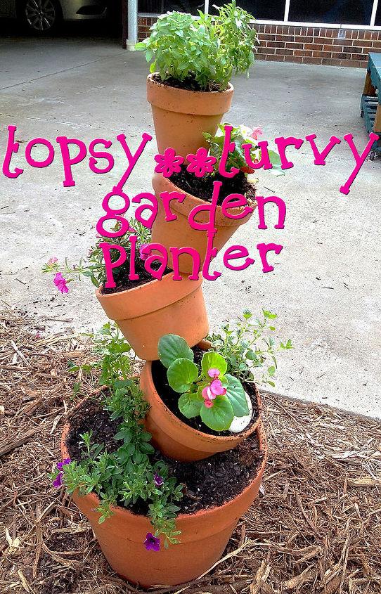 topst turvy garden planter, crafts, flowers, gardening