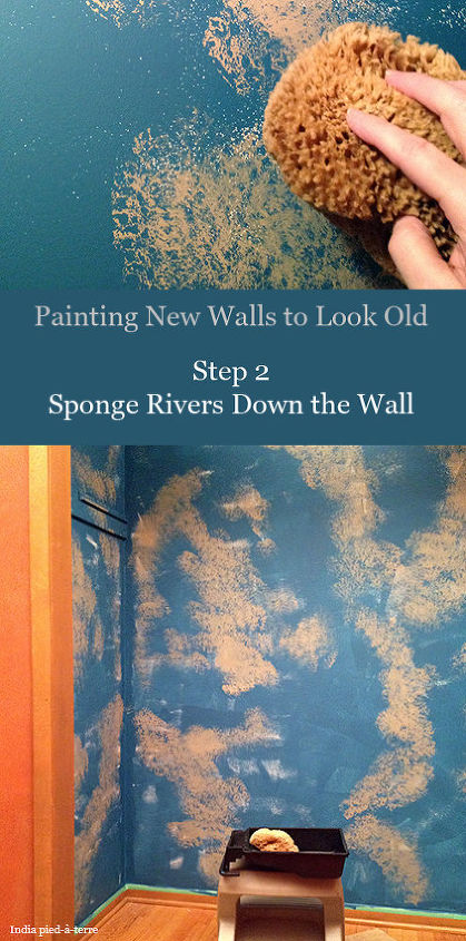 """I'm sure there's a variety of techniques to do this, but this is what I do - with a large sea sponge - as large as you can find - paint """"rivers"""" of the natural color paint down the wall."""
