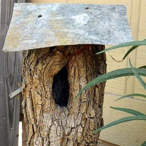 tree trunk birdhouse, crafts, outdoor living, TREE STUMP BIRDHOUSE WITH GALVANIZED TIN ROOF