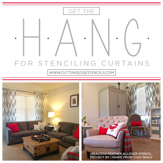 get the hang for stenciling curtains, home decor, living room ideas, painting, reupholster, window treatments, windows