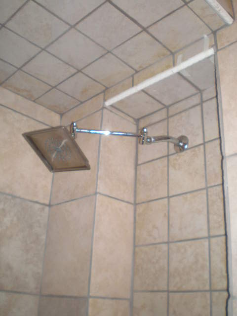 shower with fixtures installed
