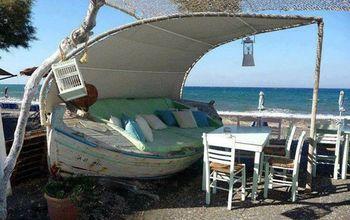 repurposed boats, home decor, outdoor furniture, outdoor living, painted furniture, repurposing upcycling, rustic furniture