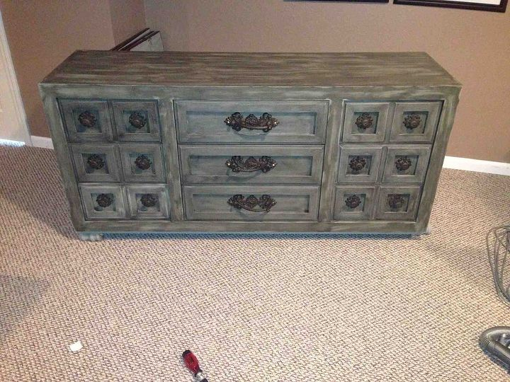 here s all the new hardware and drawers, painted furniture, Finished