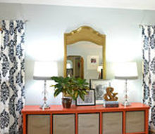 stenciled drapes to bring some drama to a room, crafts, living room ideas, reupholster, Plain white drapes get dressed up with a stencil and craft paint and bring some color drama much needed personality to my living room