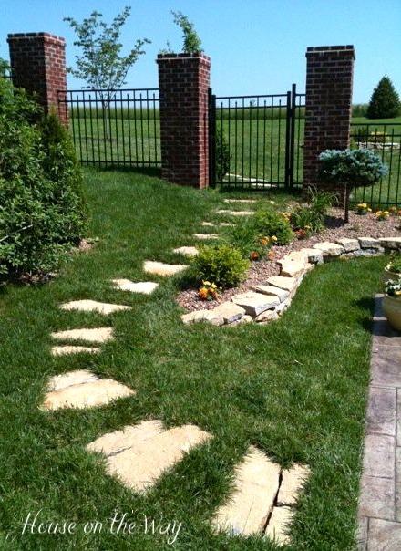 Stone walkway leading to pool area