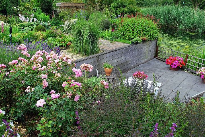 Lower terrace near the water, sitting close to Lavender, Roses and Buddleia's.