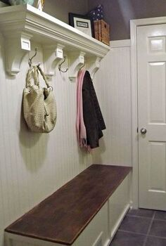 mudroom laundry room update, hardwood floors, laundry rooms, shelving ideas, storage ideas, The shelf is made of two pieces of wood crown molding and 4 corbels