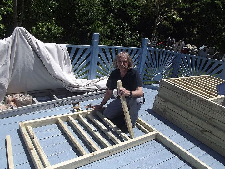 updated and transformed deck to oasis of serenity, decks, diy, how to, outdoor living, porches, woodworking projects, he is having second thoughts but trudges on