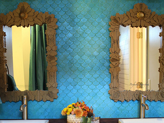 faux tile and metallic style, bathroom ideas, paint colors, painting, wall decor, Photo Credit KaraPaslayDesigns com
