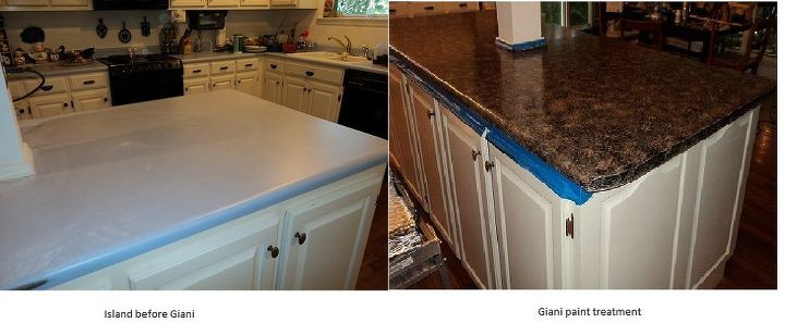 The counters:  Well, we have A LOT of counter space, which is great, but not if you don't have $700 for new laminate or THOUSANDS for hard surface.  So we used a product called Giani and painted them.  I love it!  Very durable $120