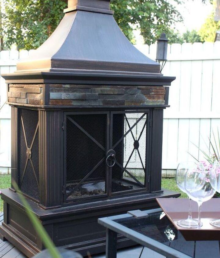 Outdoor fireplace from Lowes.