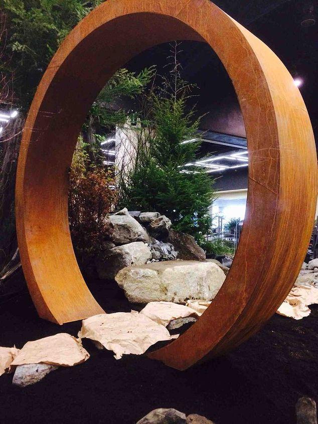 award winning display garden at the northwest flower garden show, gardening, landscape, ponds water features, Moon Gate