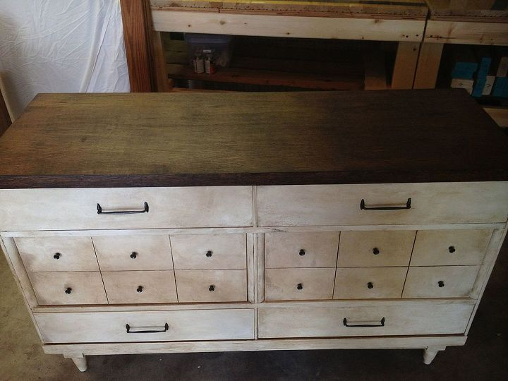 I also stripped the top (after painting it) and stained it with Minwax's Dark Walnut.