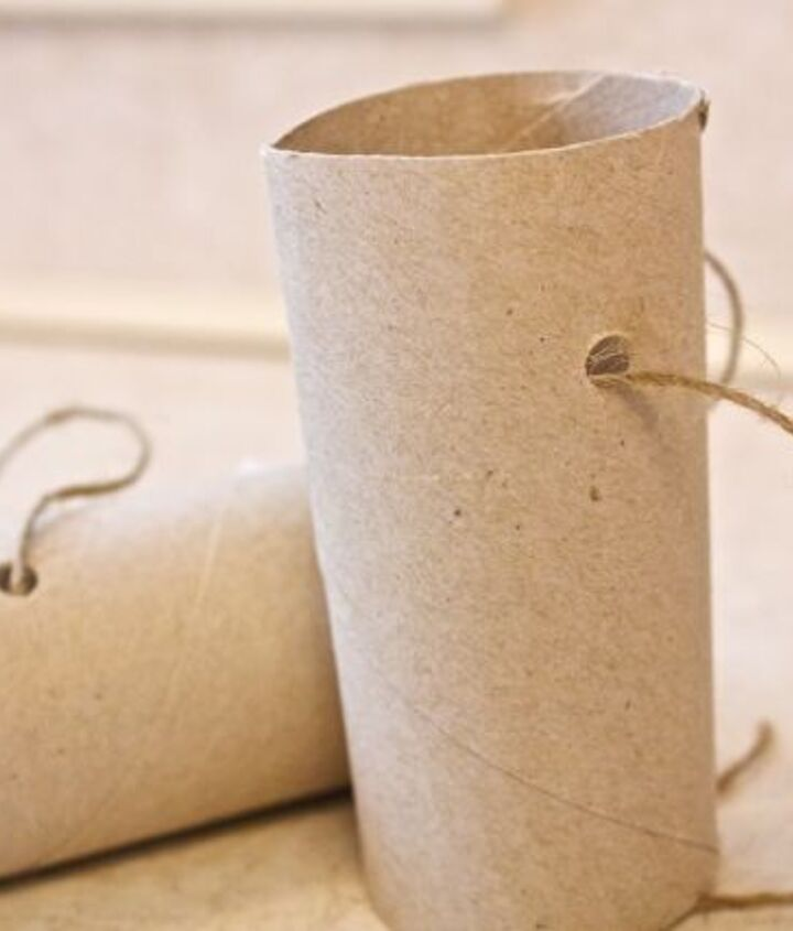 Punch holes in tube and add string