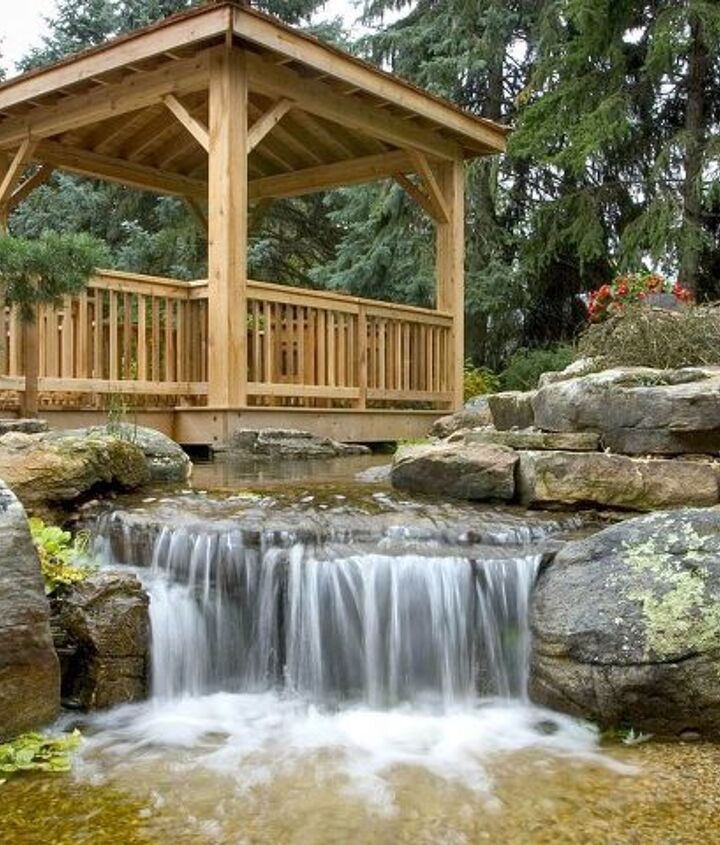 This pondless waterfall creates an ideal play area for the kids.
