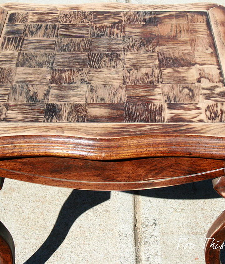 The Before of the table with top sanded down
