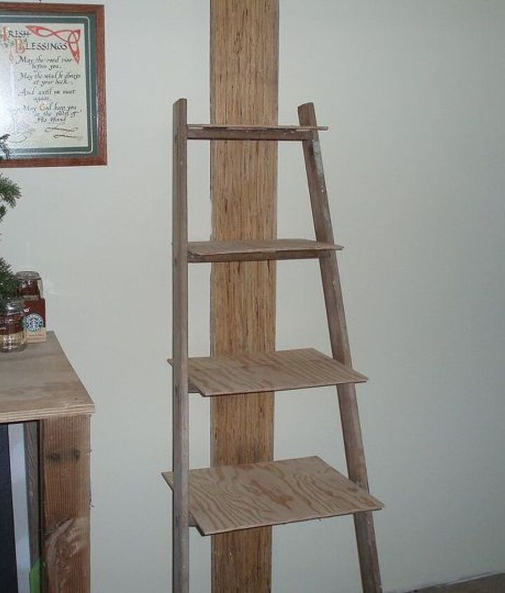 Ladder after cleaning and some repairs with the shelves added.
