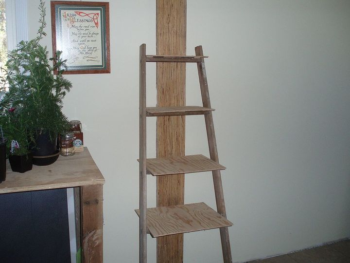 old ladder new bathroom shelves, bathroom ideas, repurposing upcycling, shelving ideas, Ladder after cleaning and some repairs with the shelves added