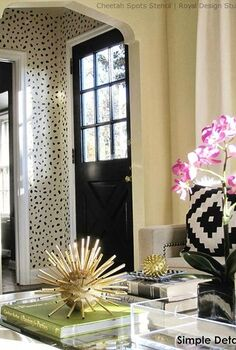 a chic and welcoming stenciled foyer entry, foyer, home decor, painting