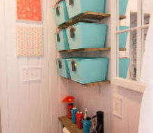 make your small bathroom look bigger install beadboard paneling, bathroom ideas, home decor, small bathroom ideas, storage ideas, Beadboard installed to the ceiling in a small bathroom