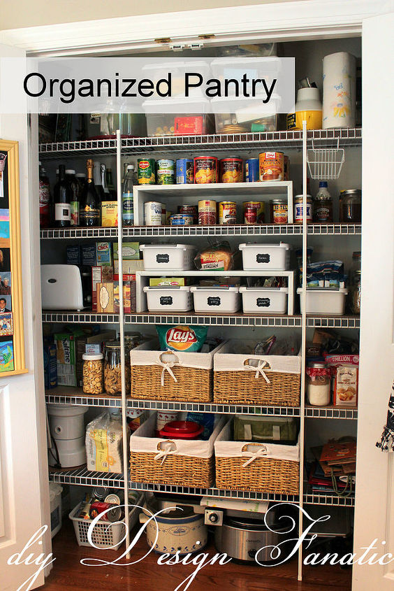 Baskets help keep your pantry items in the right place.