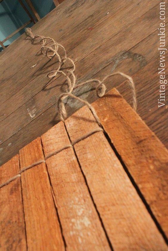 Use twine to connect pieces of wood using an over-under weave.