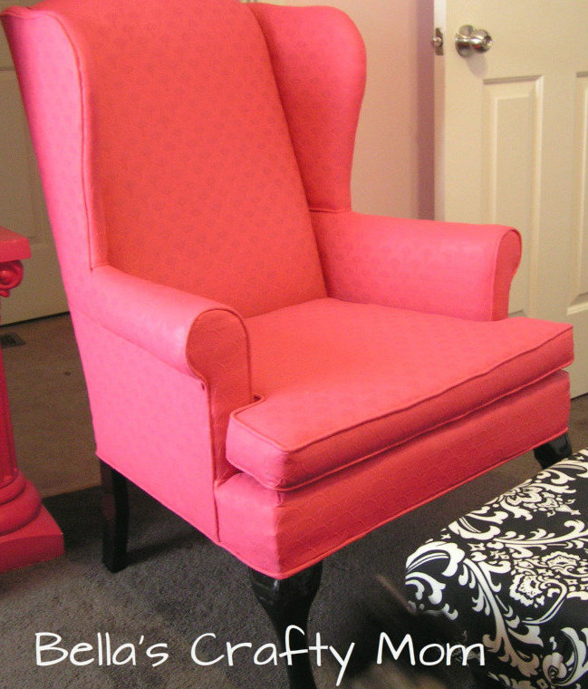 painted upholstery pink chair, painted furniture, reupholster, Painted Upholstery Chair