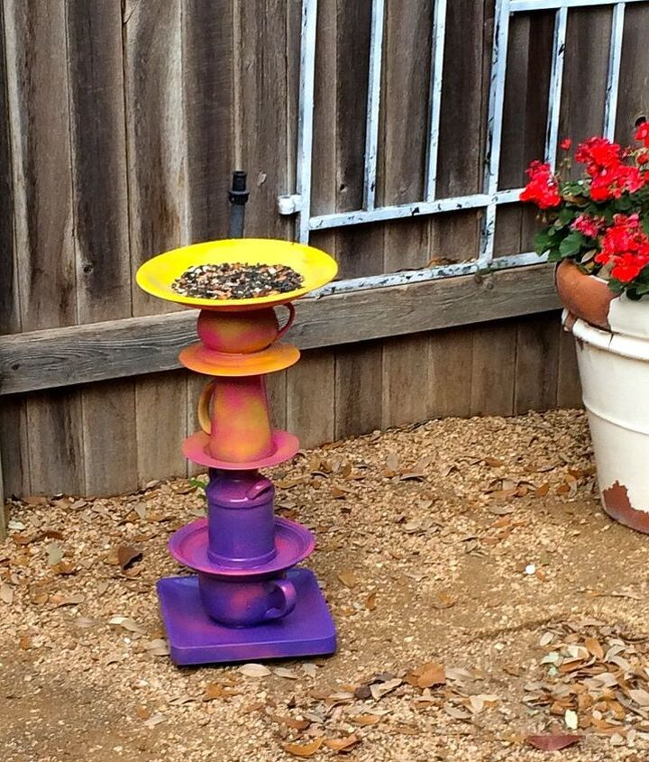 my take on a bird bath feeder inspired by home talk morena hockley, crafts, outdoor living, repurposing upcycling