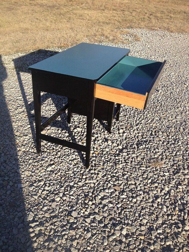 solid oak student desk, painted furniture, Black and Teal oak student desk