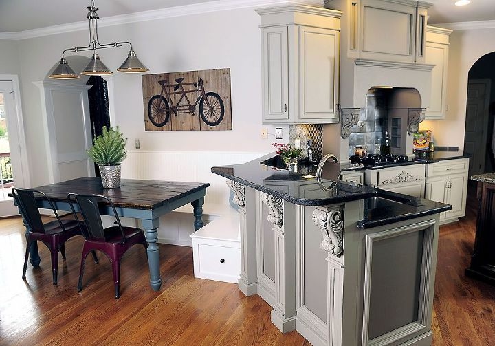 We used two Sherwin Williams paint colors to update this former Tuscan style kitchen.