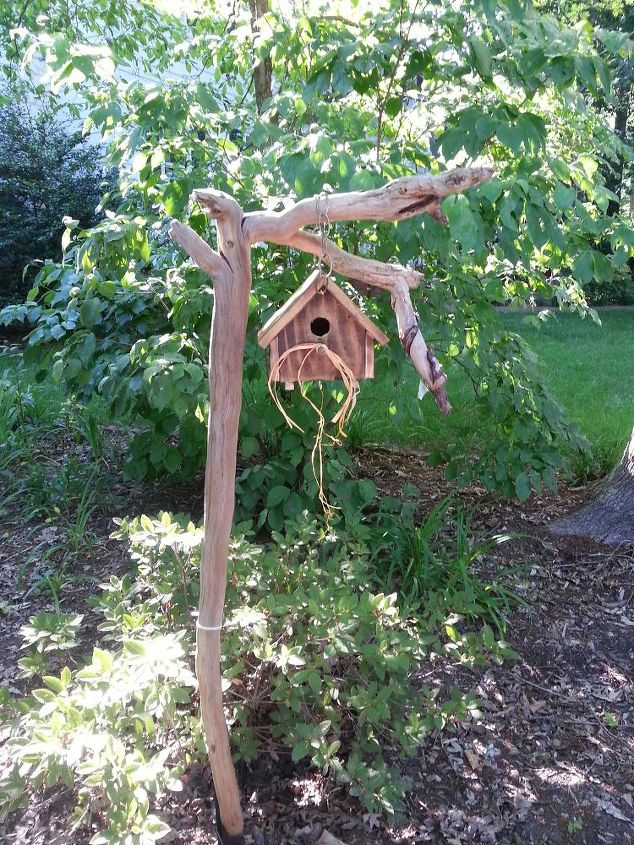 driftwood and a birdhouse what a great match, crafts, gardening
