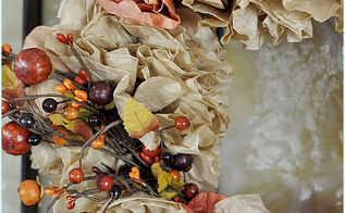 coffee filter fall wreath, crafts, repurposing upcycling, seasonal holiday decor, wreaths, Add a Fall Pick and you re done This would make a great Girl s Craft Night Out project Just have everyone make the coffee filter flowers before and put the wreath together while you chat and nibble xo